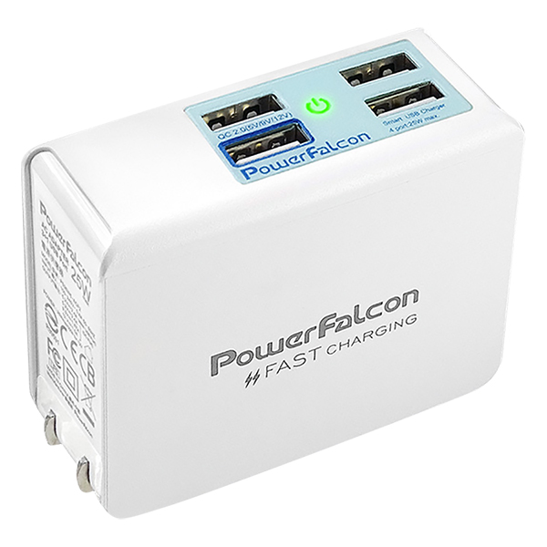 Cục Sạc Powerfalcon 25W QC3 Foldable Charger/4 USB Ports (QC3*1 USBA*3)