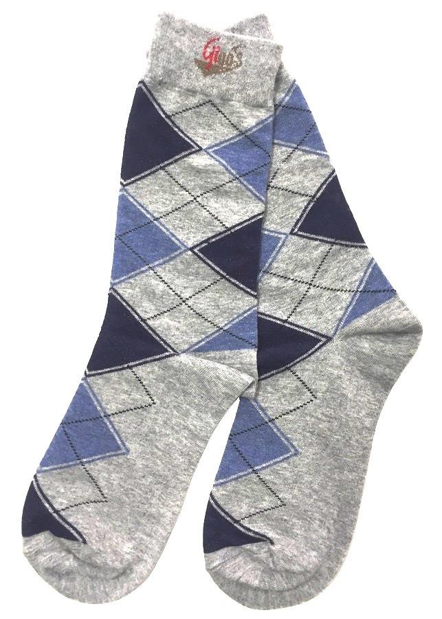 Vớ nam cao cấp cổ cao Gigo's họa tiết trám màu xám phối xanh