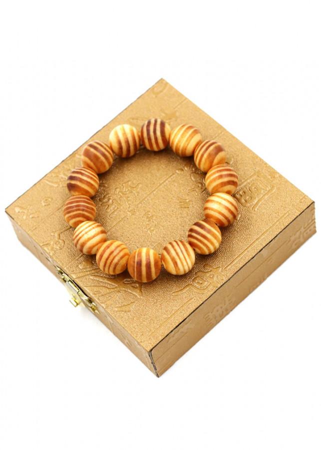Vòng tay chuỗi hạt gỗ Huyết rồng 15 ly 14 hạt kèm hạt gỗ