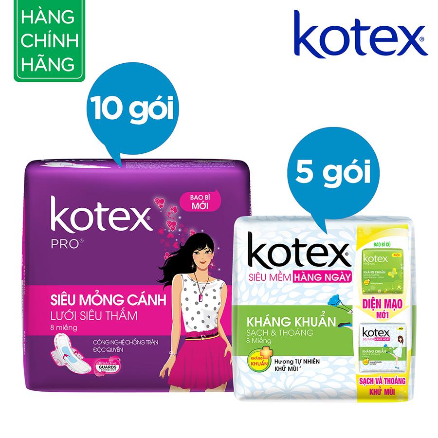 Bộ 15 Gói Băng Vệ Sinh Kotex: 10 Pro + 5 Liner