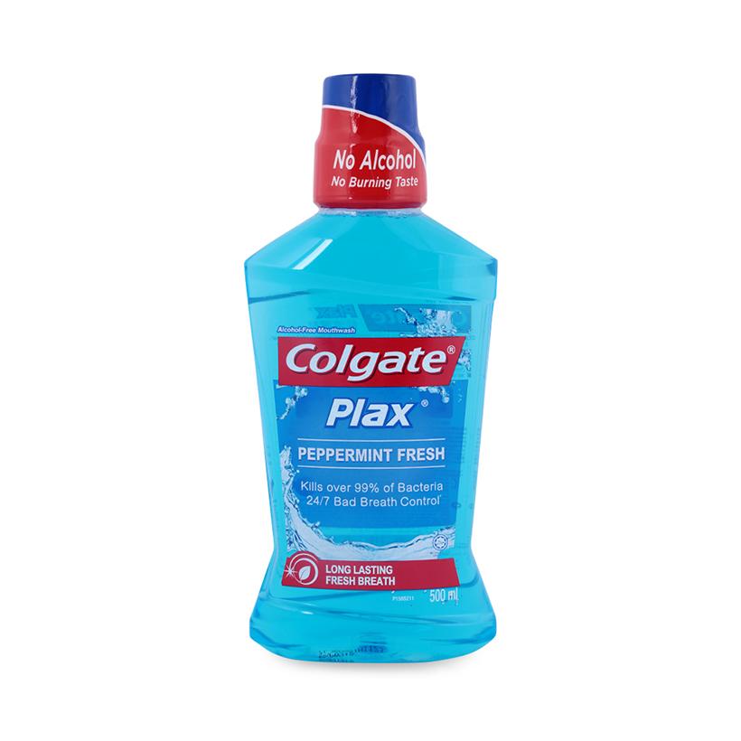 Nước Súc Miệng Colgate Plax bạc hà the mát 500ml không chứa cồn