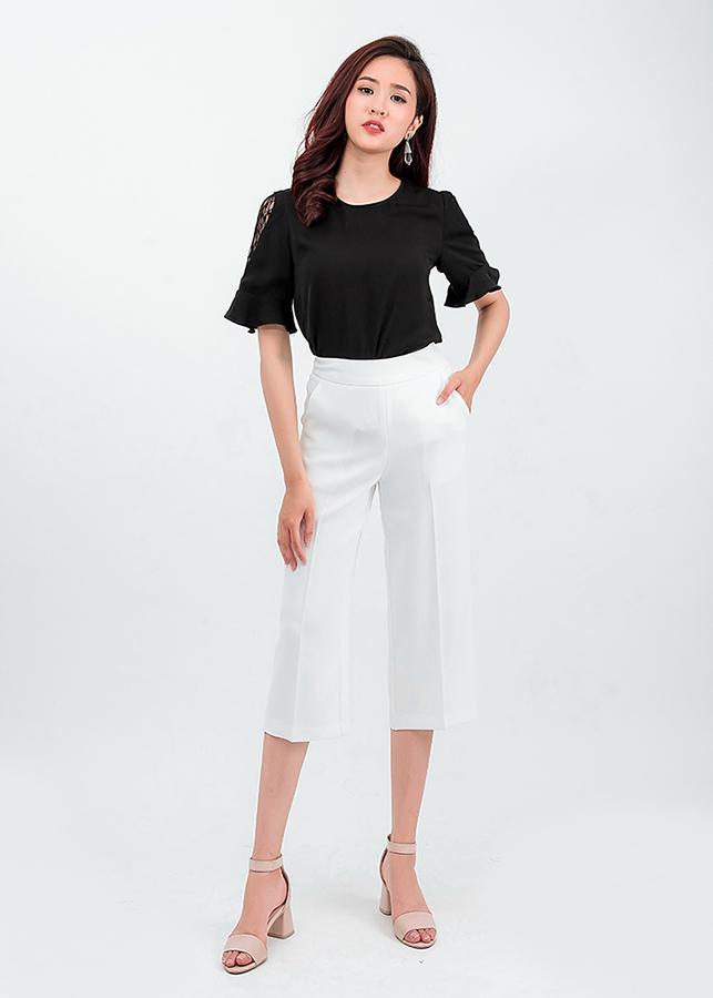 Set áo sơ mi tay phối ren quần lửng Culottes 50401 –  18001