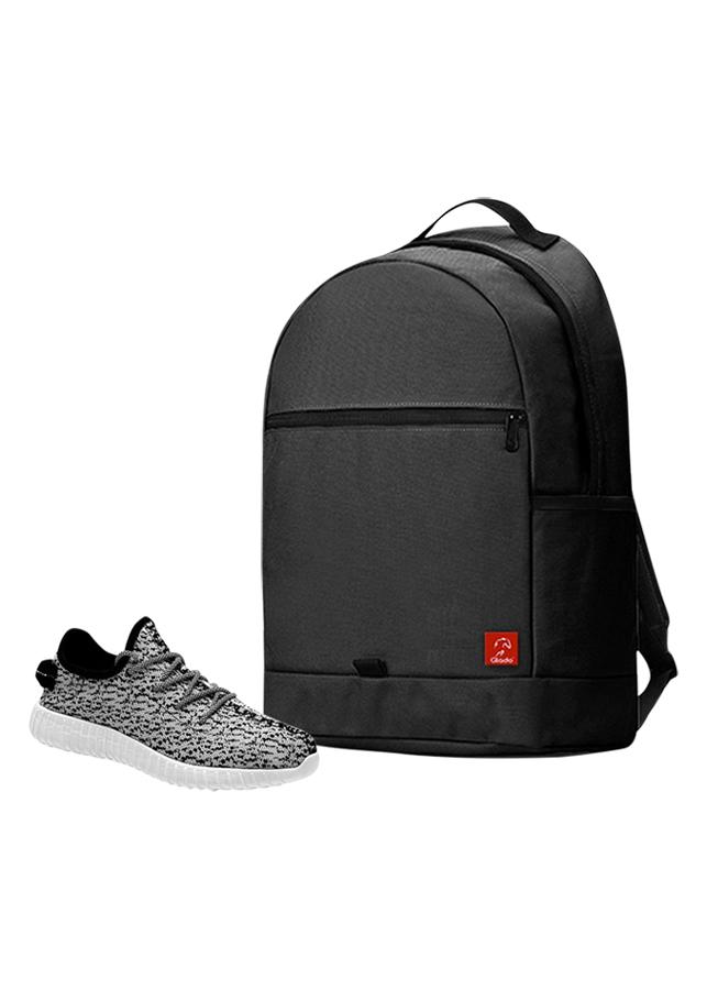 Combo Balo Glado Classical BLL006BA - Đen + Giày Sneaker GS011WH - Xám