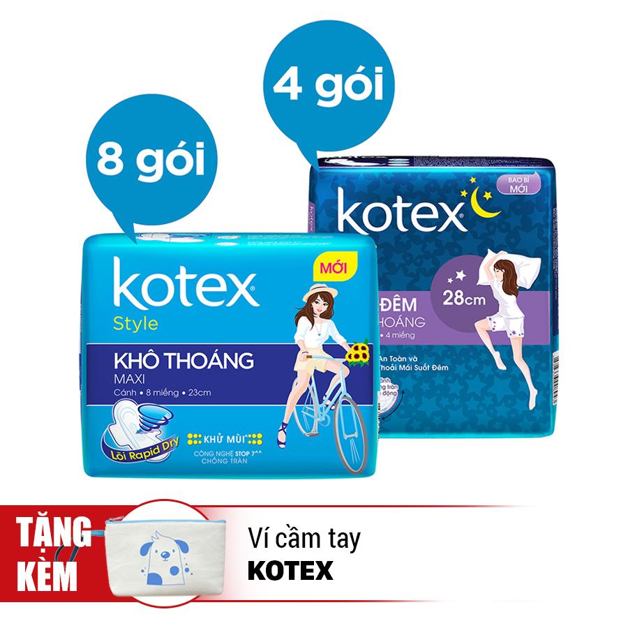 Bộ 12 Gói Băng Vệ Sinh Kotex Style: 8 Maxi + 4 Ban Đêm - Tặng Ví Cầm Tay