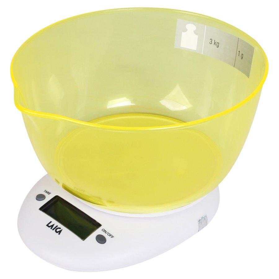 Cân nhà bếp có tính năng trừ bì TARE kèm khay đựng màu VÀNG - LAICA KS1023