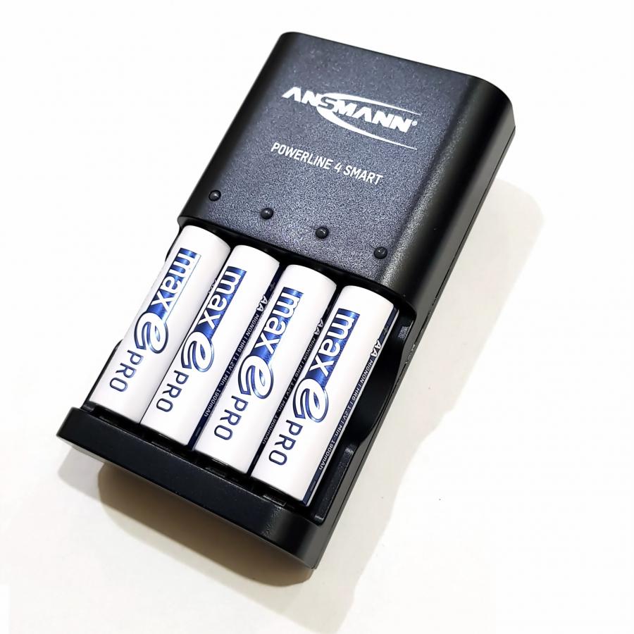 Bộ sạc ANSMANN POWERLINE 4 Smart kèm 4 pin AA-2000 Pro