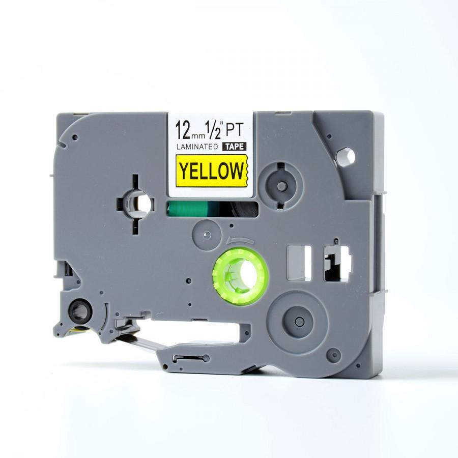 Nhãn in TZ2-631 chữ đen trên nền vàng (Black on yellow)_12mm dùng cho máy in nhãn