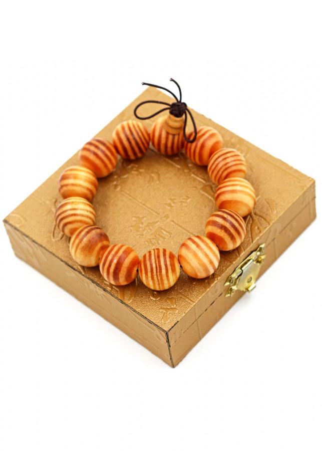 Vòng tay chuỗi hạt gỗ Huyết rồng 18 ly hồ lô kèm hộp gỗ