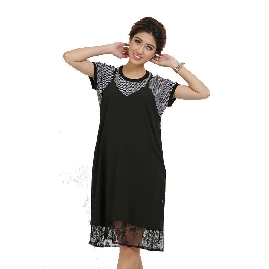 Đầm Yếm Bầu Phối Ren Annanina 509820 - Đen