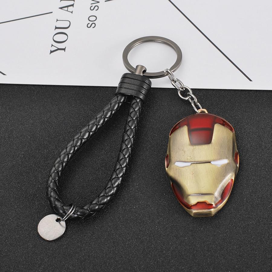 Móc khóa siêu anh hùng kèm dây - mặt nạ Người Sắt - đồng