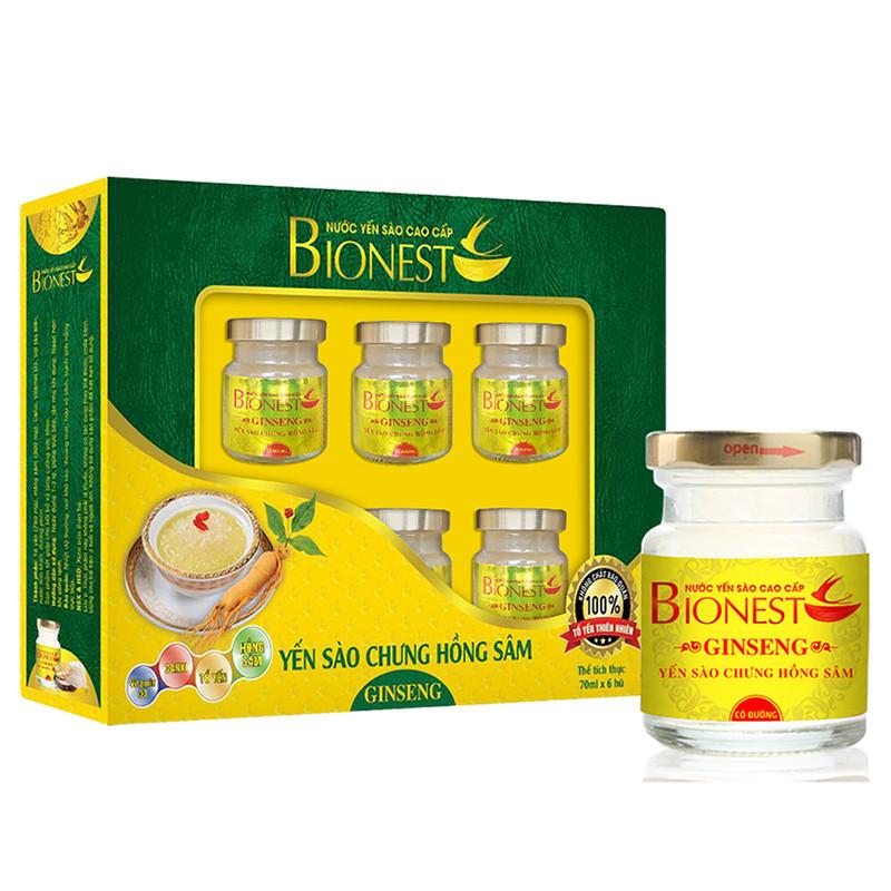 Bộ 2 hộp Yến sào Bionest Ginseng hồng sâm cao cấp - hộp quà tặng 6 lọ
