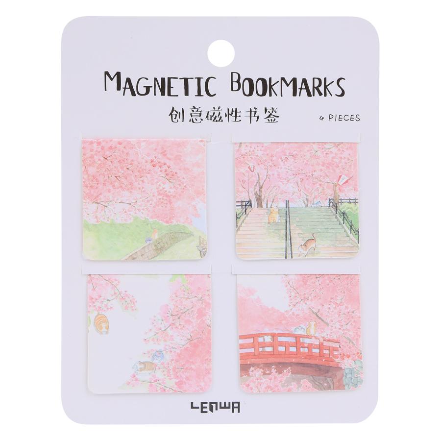 Bookmarks Magnetic - Hoa Đào (Bộ 4 Cái)