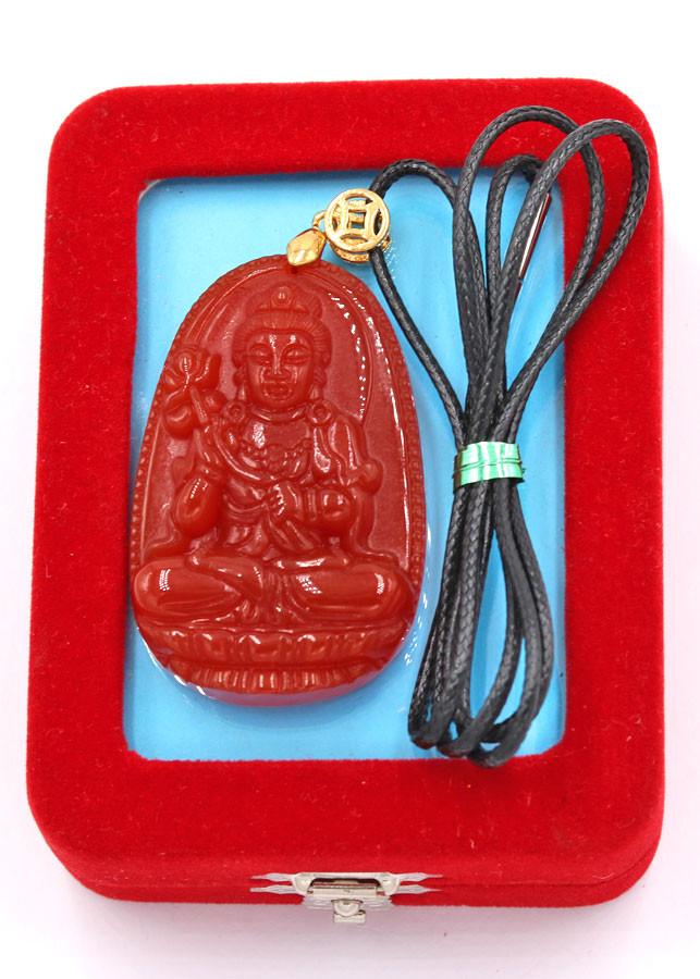 Vòng cổ Đại Thế Chí Bồ Tát đỏ 5 cm DEDN4 kèm hộp nhung
