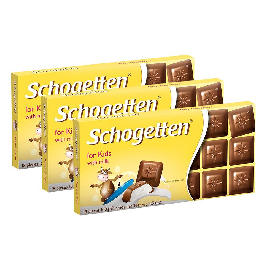 Combo 3 Thanh Sôcôla Ludwig Schokolade 13 Vị Schogetten - For Kids (100g)