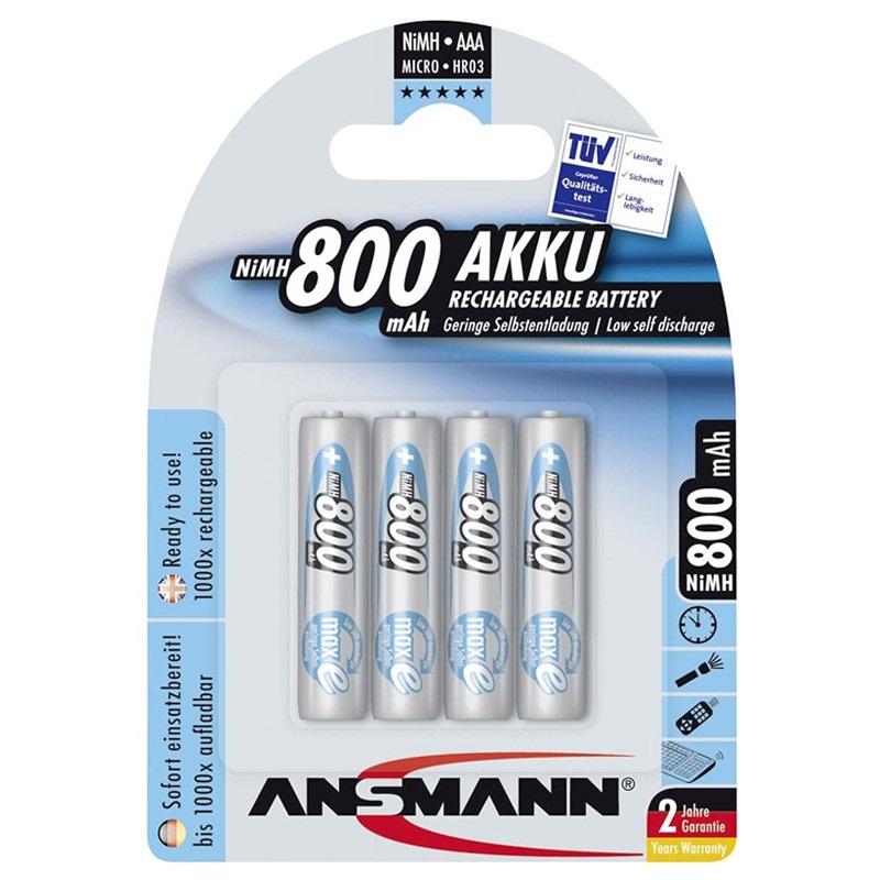 Bộ 4 Pin Sạc Pin Sạc AAA-800 BL4 ANSMANN