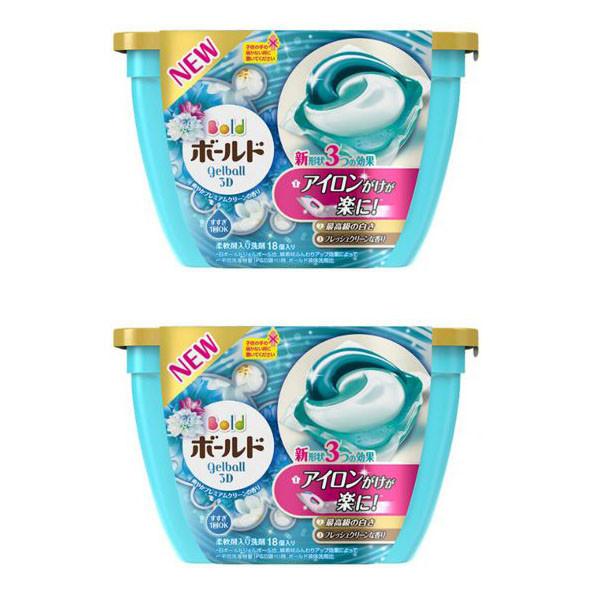 Combo 2 hộp 18 viên nước giặt xả hương hoa màu xanh nội địa Nhật Bản