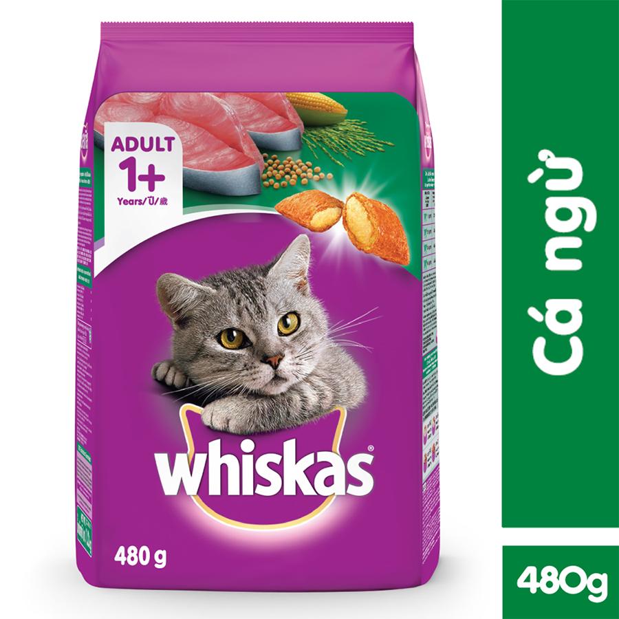Đồ Ăn Cho Mèo Lớn Whiskas Vị Cá Ngừ Túi 480g