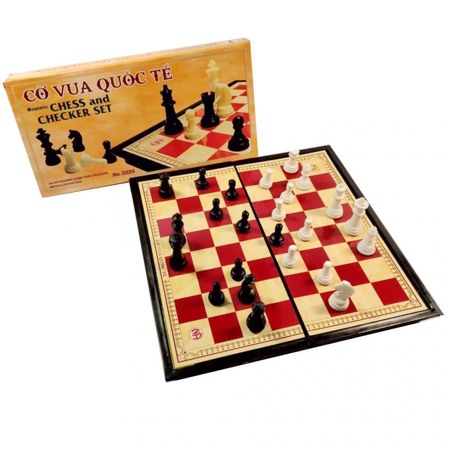 Bộ cờ vua nam châm 25cm x 25cm hộp vàng bàn đen đỏ