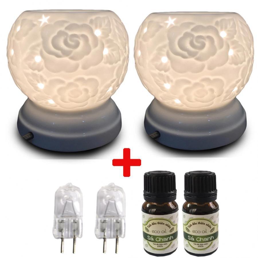 Combo 2 đèn xông tinh dầu MNB22 kèm 2 tinh dầu sả chanh Eco 10ml và 2 bóng đèn