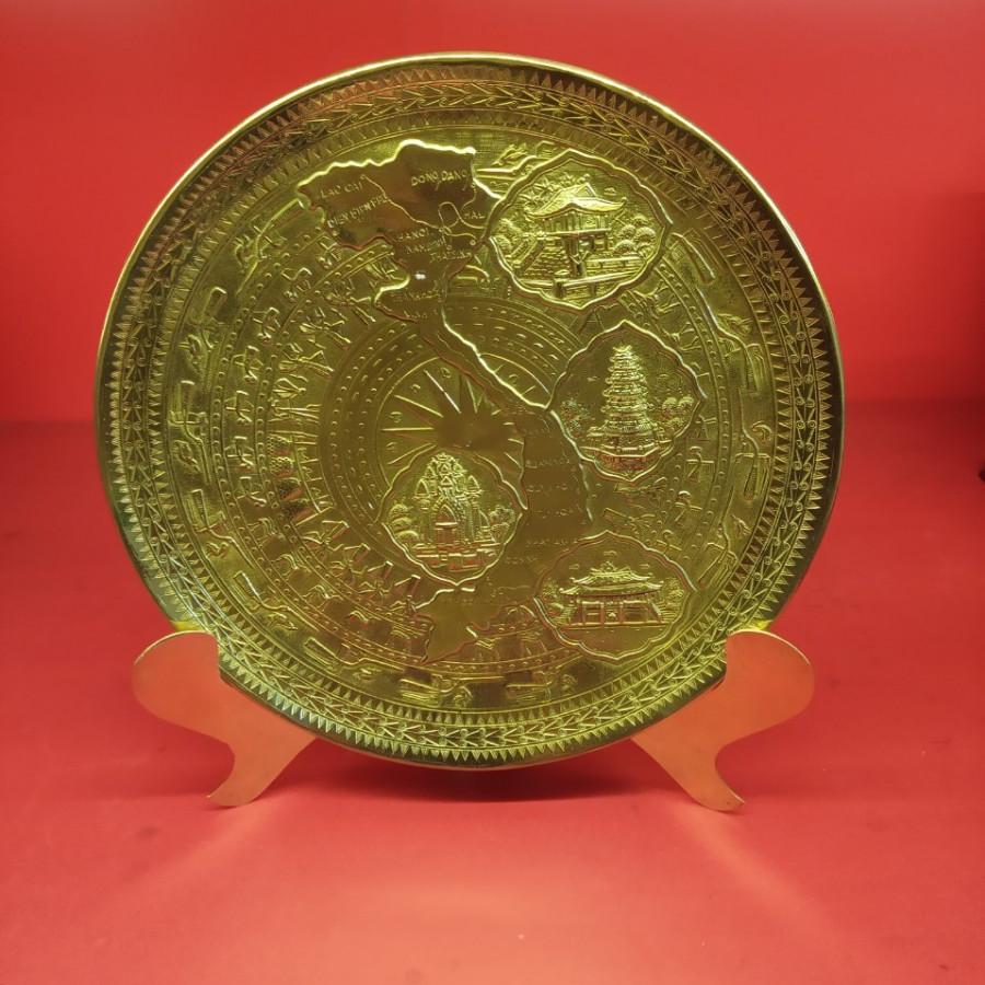 Đĩa đồng gò mặt bản đồ Việt Nam 23cm