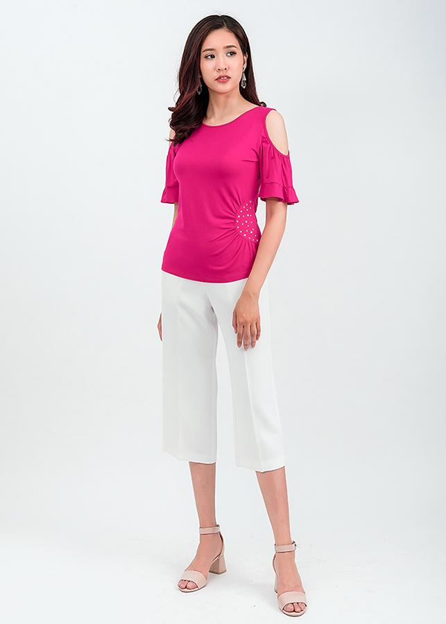 Set áo thun cut – out vai quần lửng Culottes 36201-18002