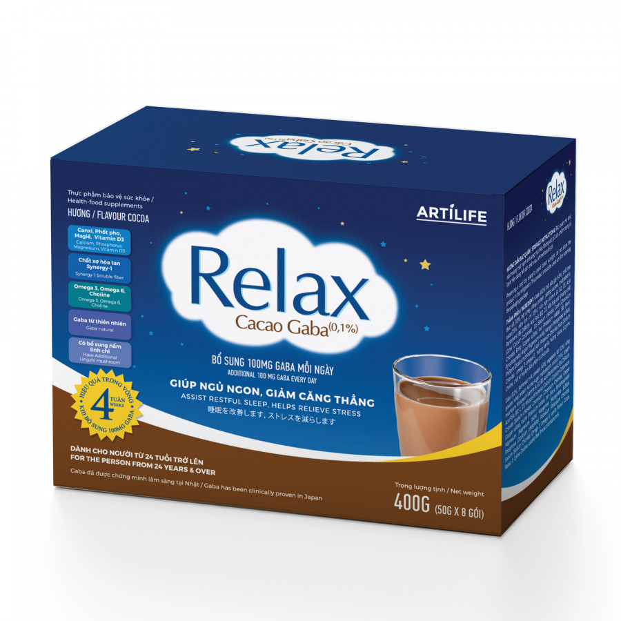 Relax Cacao Gaba Hương Cacao Hộp Giấy 400g (50g x 8 Gói) Hỗ Trợ Giúp Ngủ Ngon Giảm Căng Thẳng