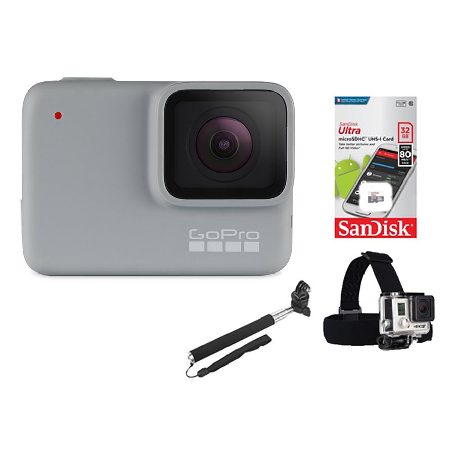 Combo GoPro Hero 7 White + Thẻ Nhớ 32GB + Dây Đeo Đầu  + Gậy Cầm Tay  Mount Gắn - Hàng Chính Hãng