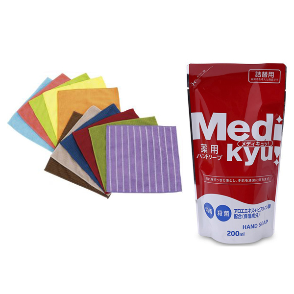 Combo 11 khăn lau đa năng + dung dịch rửa tay Medi Kyu 200ml loại túi dạng gel nội địa Nhật Bản
