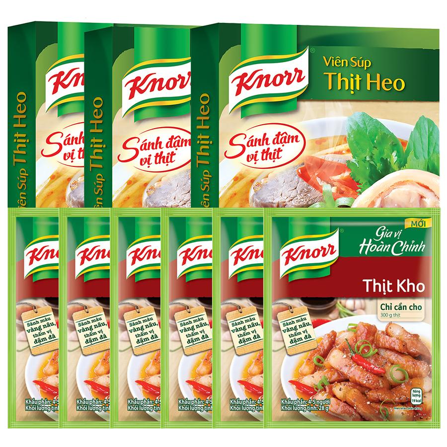 Combo 3 Hộp Viên Súp Thịt Heo Knorr + 6 Gói Gia Vị Thịt kho Knorr