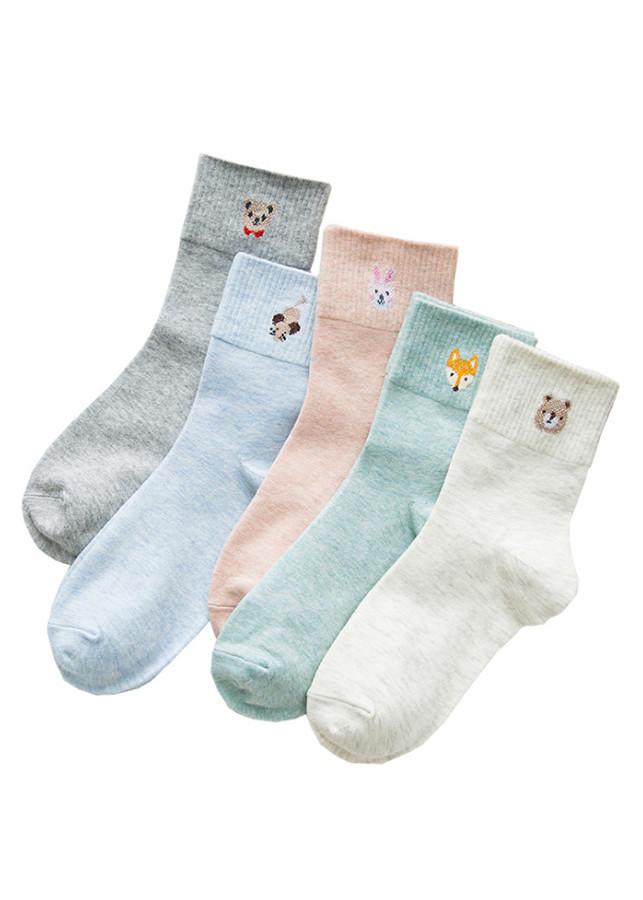 Bộ 5 đôi tất cổ trung cho nữ chất cotton P3WM04A