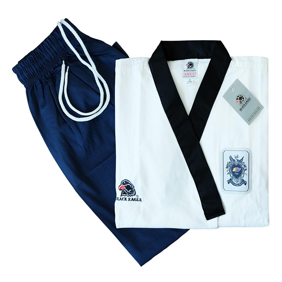 Võ Phục Taekwondo Quyền Black Eagle Cổ Đen DPVTTAEQCDBE - Trắng