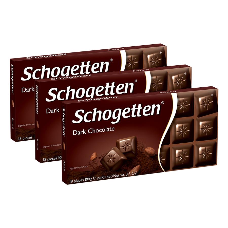 Combo 3 Thanh Sôcôla Ludwig Schokolade 13 Vị Schogetten - Đắng (100g)
