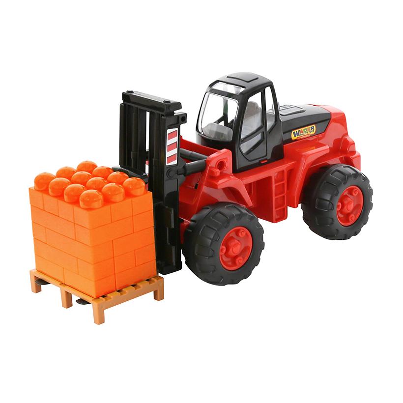 Xe nâng hàng đồ chơi PowerTruck kèm bộ xếp hình – Polesie Toys