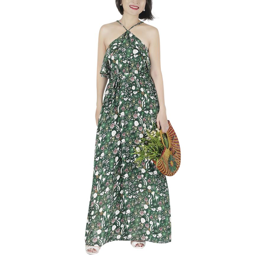 Đầm Maxi Voan Lụa Họa Tiết Chim - Xanh