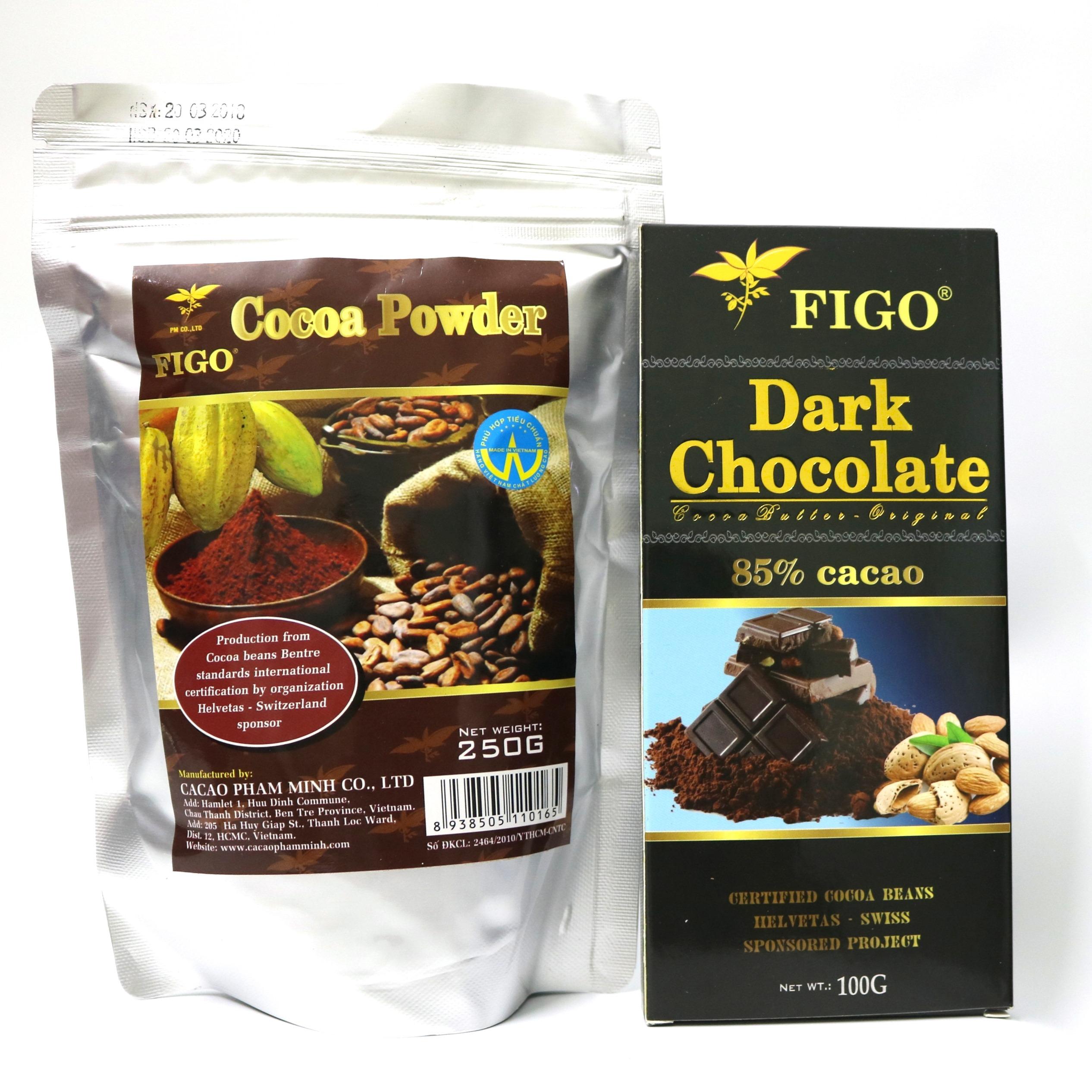 Combo Bột cacao nguyên chất 250g và Socola đen đắng 85% cacao 100g Figo