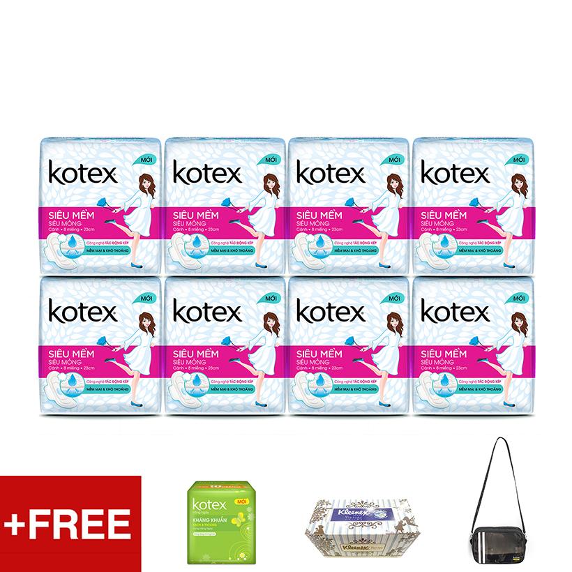 Bộ 8 gói Kotex siêu mềm siêu mỏng cánh 23cm Tặng Túi thể thao trong suốt + Hộp khăn giấy Kleenex + 1 Gói Kotex Hàng ngày