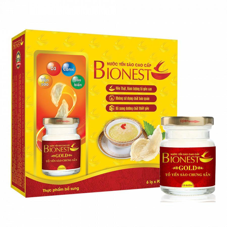 Bộ 6 hộp Yến sào Bionest Gold cao cấp - hộp tiết kiệm 6 lọ