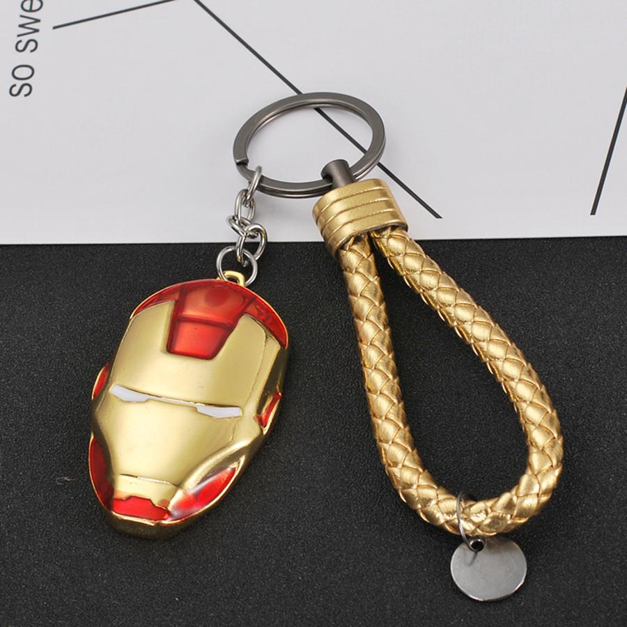Móc khóa siêu anh hùng kèm dây - mặt nạ Người Sắt - đỏ