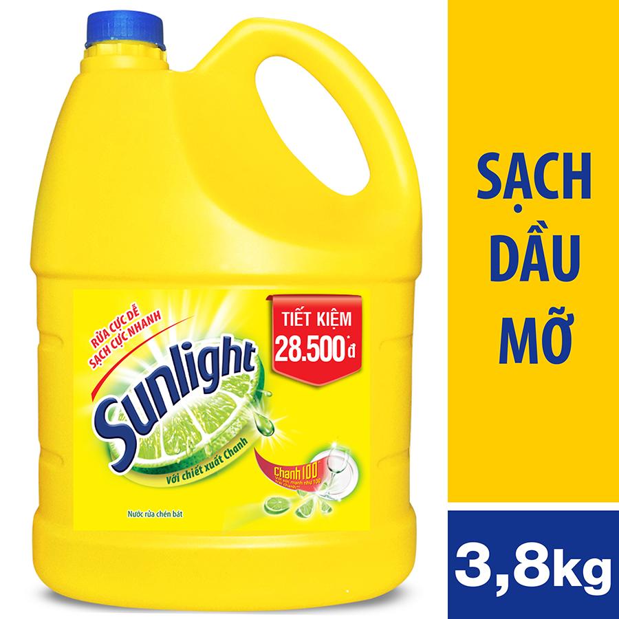 Nước Rửa Chén Sunlight Chanh Dạng Chai 3.8kg