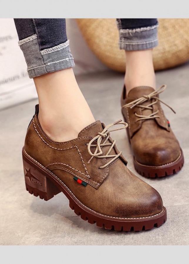Giày oxford nữ cao 5p da cao cấp siêu mềm siêu nhẹ màu xám