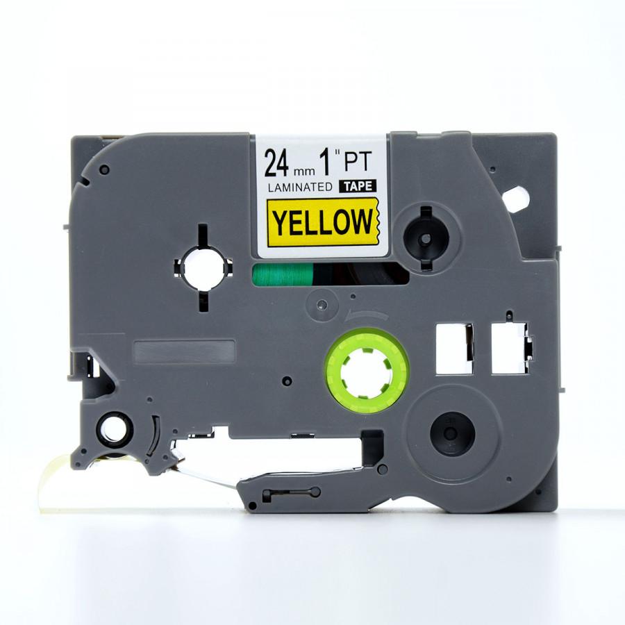 Nhãn in TZ2-651 chữ đen trên nền vàng (Black on yellow)_24mm dùng cho máy in nhãn