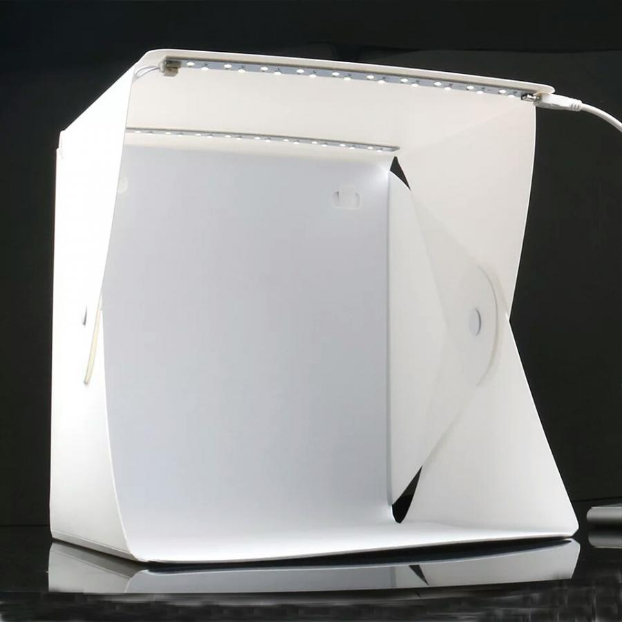 Hộp chụp sản phẩm mini 24cm x 24cm tích hợp 2 đèn Led 6 màu phông nền