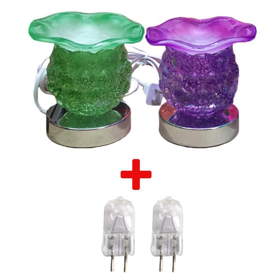 Combo 2 Đèn xông tinh dầu thủy tinh cảm ứng nho và 2 bóng đèn (Giao màu ngẫu nhiên)