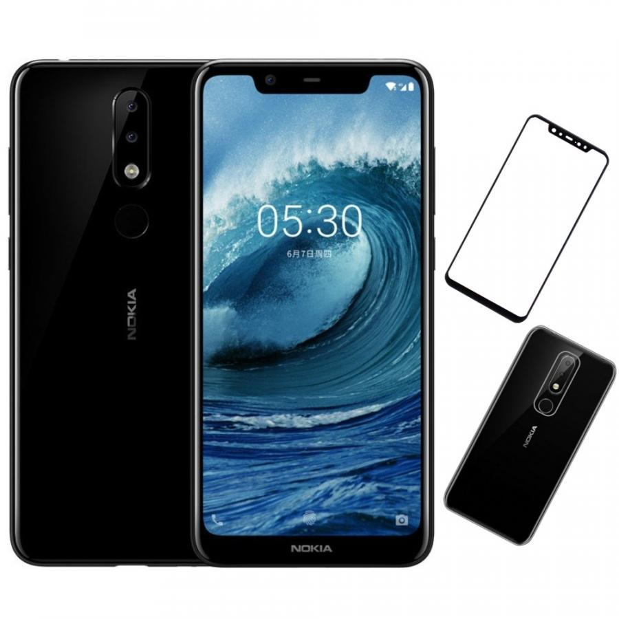 Bộ Điện thoại Nokia X5 (32GB/3GB) (Đen) + Dán cường lực 5D full màn (Đen) + Ốp lưng - Hàng nhập khẩu