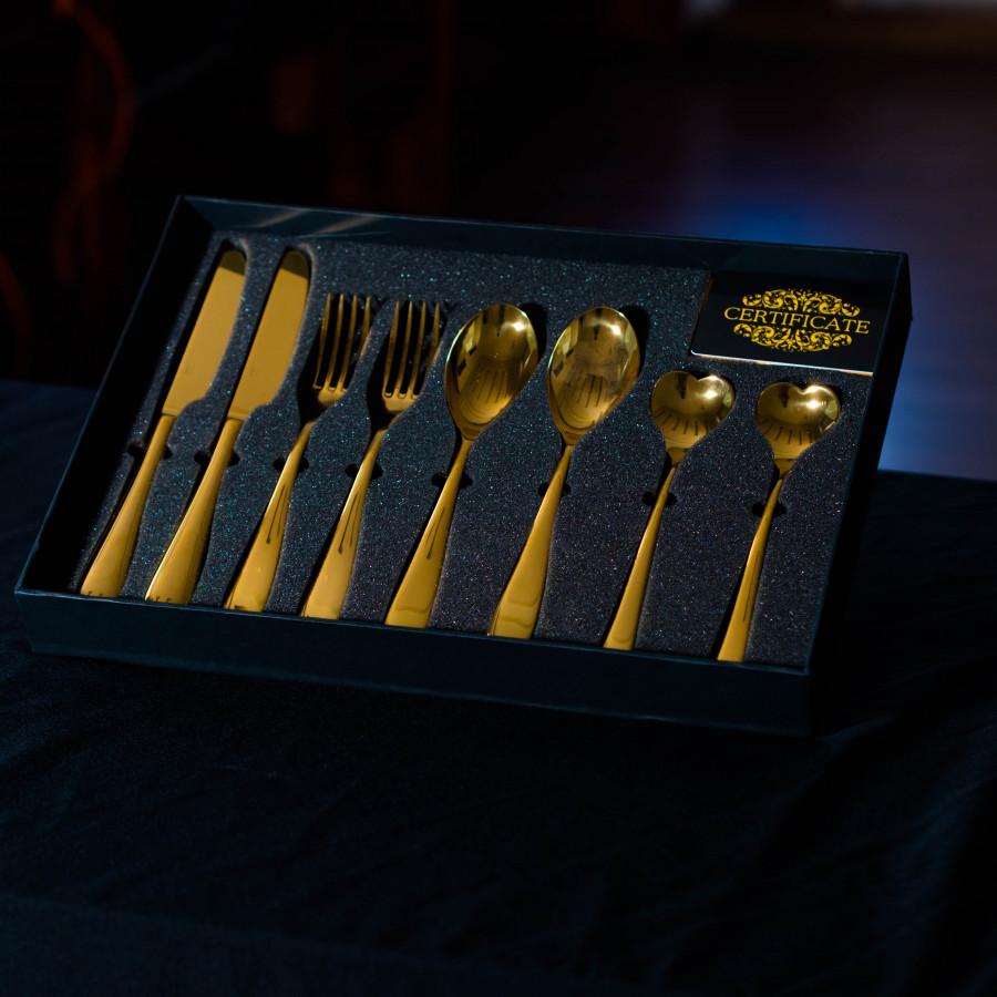 Hộp Dao Muỗng Nĩa Mạ Vàng 8 món