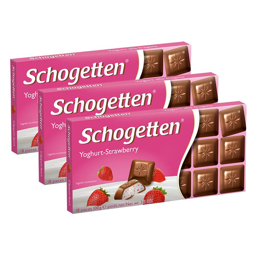 Combo 3 Thanh Sôcôla Ludwig Schokolade 13 Vị Schogetten - Sữa Chua Dâu Tây (100g)
