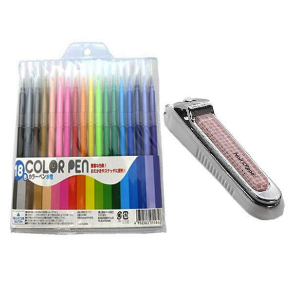 Combo Set 18 bút dạ màu + Bấm móng tay trẻ em nội địa Nhật Bản