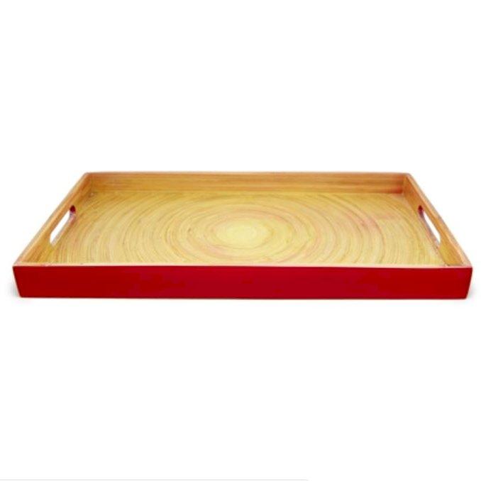Khay sơn mài chữ nhật vân gỗ tự nhiên đỏ
