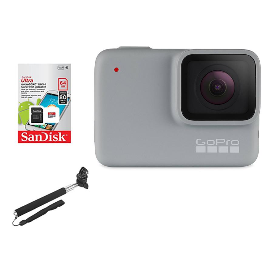 Combo GoPro Hero 7 White + Thẻ Nhớ 64GB + Gậy Cầm Tay  Mount Gắn - Hàng Chính Hãng