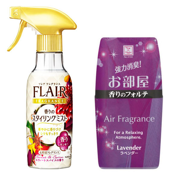 Combo xịt thơm và làm phẳng quần áo hương thảo mộc KAO + hộp thơm phòng hương lavender nội địa Nhật Bản